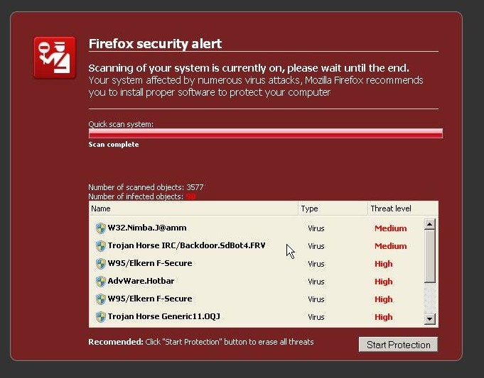 Fake Firefox Security Alert