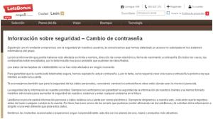 Captura de pantalla del comunicado Letsbonus