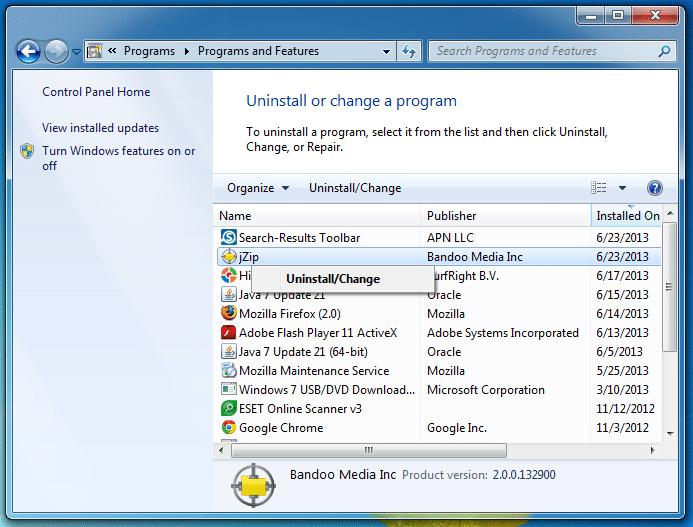 JZip barra de herramientas desinstalacion